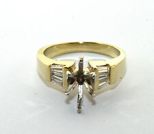 Ladies 14K Yellow Gold Setting Ring with Accents