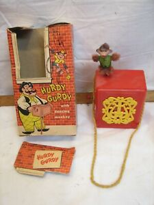 Vintage Mattel Hurdy Gurdy Dancing Monkey Music Box Crank Toy
