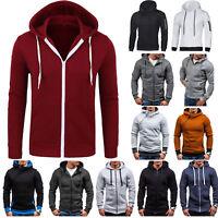 US Men Slim Hoodie Warm Hooded Zipper Sweatshirt Coat Jacket Outwear Casual Tops