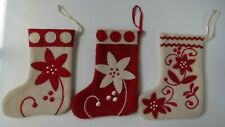 Felt Christmas Stockings (3 Designs) Red Cream Rick Rack Scandinavian Embroidery