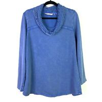 Soft Surroundings Sz M Top Sweater Lace Cowl Pullover French Terry Neck