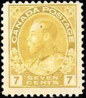 Mint H Canada 7c 1916 F Scott #113 King George V Admiral Issue Stamp