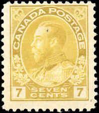 Mint H Canada 7c 1916 F Scott #113 King George V Admiral Issue Stamp