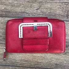 TED BAKER RED LEATHER LARGE BUCKLE DETAIL ZIP AROUND CLUTCH PURSE WALLET DIMMA