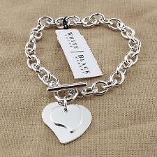 Silver tone heart two hearts charm bracelet