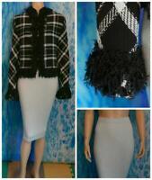 ST. JOHN Collection Knits Black Blue Jacket Skirt XL 16 18 2pc Suit Fringes Trim