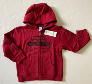 NWT Gymboree Built for Speed XS 3-4 Dark Red Race Car Flame Sleeve Hoodie 3T-4T