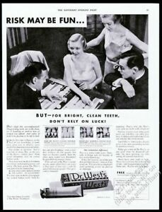 1933 backgammon game board photo Dr. West's Toothpaste vintage print ad