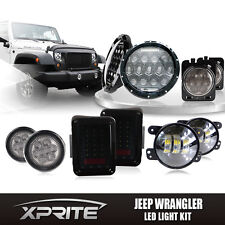 "7"" 75W CREE LED Headlights Turn Signal Fog Side & Taillight Smoke Combo Jeep"
