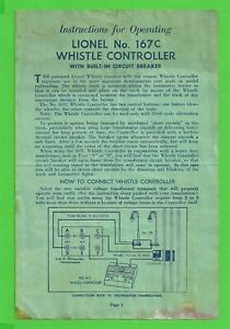VTG 1947 Original Lionel 167C Whistle Controller Instructions 167-55 25M 9-47 TT