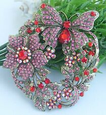 "Unique 3.54"" Insect Butterfly Brooch Pin Red Pink Rhinestone Crystal Ee04489C8"