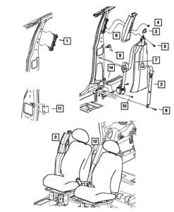 Genuine MOPAR Front Inner Seat Belt Left ZF411K5AC