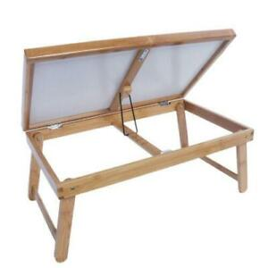 High Grade Bamboo Wood Bed Tray Lap Desk Serving Table Folding Legs Adjustable