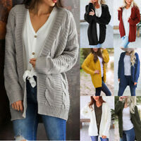 Women Winter Knitwear Cardigan Sweater Coat Chunky Knitted Baggy Loose Outwear G