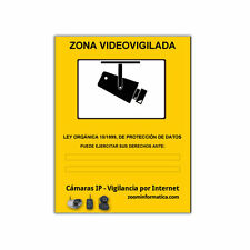 Cartel LOPD videovigilancia personalizado español adhesivo pegatina camara vigil