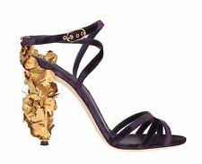 NEW DOLCE & GABBANA Shoes Purple Velvet Gold Leaf Ankle Sandal EU41 /US9.5