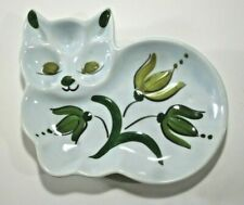 "Vintage Los Angeles Potteries California Yellow/Green Cat Spoon Rest 83-C, 7.5""W"