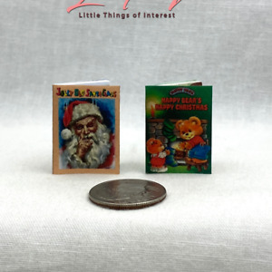 JOLLY OLD SANTA CLAUS & HAPPY BEARS HAPPY CHRISTMAS 2 Miniature 1:12 Scale Books