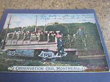 VINTAGE -DIVIDED BACK-MONTREAL QUEBEC,CANADA-OBSERVATION CAR WITH TOURISTS