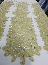 Gold Bridal Mesh w/ Embroidery Beaded Lace & Crystals Fabric - Sold by the yard