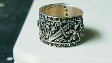 Knights Ring with Blue Stones.  Beautiful Royalty Ring   925 Sterling Silver