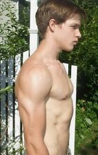 Shirtless Male Shaggy Haired Frat Boy Jock Dude Bare Chest Side PHOTO 4X6 C71