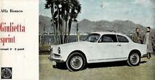 "PROSPEKT:  ALFA  ROMEO  "" GIULIETTA  SPRINT ""  (750 B) ! - 1957 ! = LANGFORMAT !"