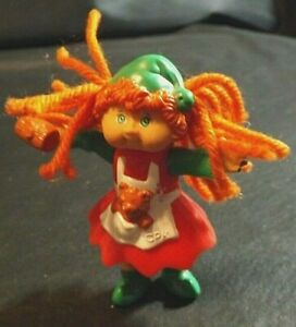 CABBAGE PATCH PVC MINI FIGURE GIRL WITH ORANGE YARN HAIR 3 1/2 INCHES TALL