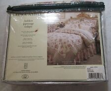 "LAURA ASHLEY ""Bovary"" Twin Size Ruffle Bedskirt Pink Ivory Floral NEW"