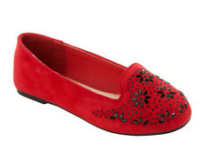 GIRLS RED FAUX SUEDE GEM STUDDED PARTY FANCY PUMPS SHOES KIDS UK SIZE 10-2