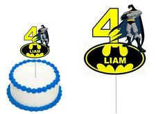 BATMAN CAKE TOPPER PERSONALISED NAME AGE GLOSSY CARDSTOCK DECORATION