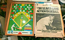 1960s Tom Seaver Action Baseball Game Pressman Toys Wood Frame Tin Field w Box