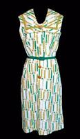 VERY RARE VINTAGE DEADSTOCK 1950'S WHITE  COTTON PRINT SUMMER DRESS SIZE 8-10