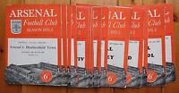 Arsenal home programmes  1951/52 - League / Reserves / Friendly