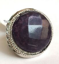 Silver Amethyst Art Deco Cocktail Ring Size 5 7 8 10 Purple Natural Stone Plated