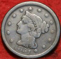 1851 Philadelphia Mint Copper Braided Hair Large Cent