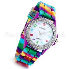 Fashion Rainbow Jelly Silicone Rhinestone Girls Ladies Womens Quartz Wrist Watch