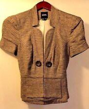 Juniors Women XOXO Beige-Brown Cap Short Sleeve Blazer Button Jacket Size S