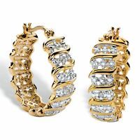 Diamond Accent S-Link Hoop Earrings 18k Yellow Gold-Plated