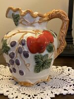 """Vintage Bright Colored Fruit Small Pitcher Creamer Ceramic Pottery, 5 3/4"""" tall"""