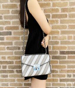 Michael Kors Rose Medium Shoulder Flap Chain Bag White MK Pearl Grey Crossbody
