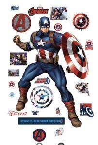 Original FATHEAD Marvel Avengers Assemble Captain Amer  Wall Decal 96-96158 NEW