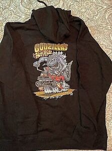 GODZILLA RIDING HIS FORD MUSTANG HOODIE SWEATSHIRT   IN    black or white