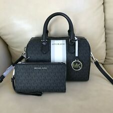 Michael Kors Signature Black Bedford Small Duffle Satchel Bag MK