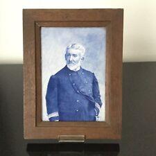 Tableau Faïence Peinte Signé CH Capitaine de Marine Captain Kapitein 1906 Delft?