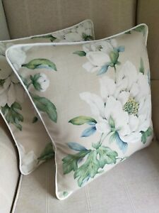"""Laura Ashley Wisley Natural Fabric Cushion Cover 16"""" Piped White Zipped"""