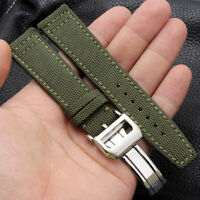 Nylon Fabric Leather Bracelet Watch Band Strap Solid Clasp Replacement For IWC