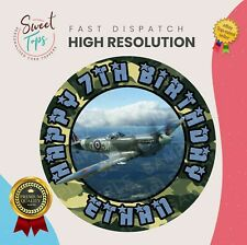 SPITFIRE PLANE ROUND EDIBLE BIRTHDAY CAKE TOPPER DECORATION PERSONALISED
