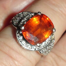 RARE! NATURAL HESSONITE GARNET 5.50CT RING 925 STERLING SILVER,SIZE 6.25
