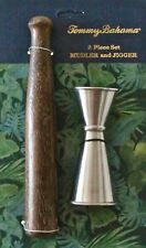 TOMMY BAHAMA MUDLER AND JIGGER 2 PIECE SET DARK BROWN WOOD FLAKE SILVER BAR NEW